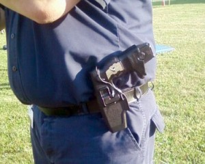 Holstered police taser. Photo: Doctor_Q, Creative Commons, some rights reserved