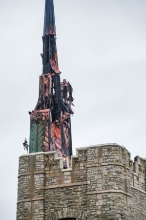 Fire damage to the Gunnision Memorial Chapel Sunday. Photo courtesy St. Lawrence University.