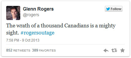 The wrong (and wronged) guy tweets back. Image: screen shot of tweet from @rogers