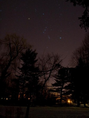 The nighttime sky over northern New York, winter 2012. Last night's flash and boom illuminated the sky and left many wondering about their nature, including one speculation about Superman. Photo: John Stanford