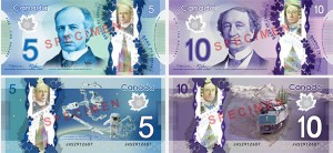 Specimen images of Canada's new polymer $5 and $10 banknotes.