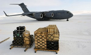 "A Canadian Forces CC-117 Globemaster aircraft lands on the Resolute Bay, Nunavut during Operation NUNALIVUT, a major ""sovereignty operation,"" in April 2012, demonstrating military capabilities in the far north. Photo: Sergeant Matthew McGregor, Canadian Forces Combat Camera, Creative Commons, some rights reserved"