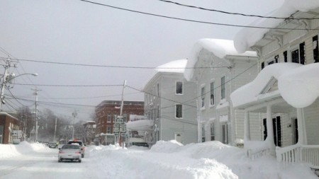 A street in the village of Adams, NY, during December's storm. This winter's brutal weather has upped the number of people seeking HEAP assistance. Photo: Catherine Loper