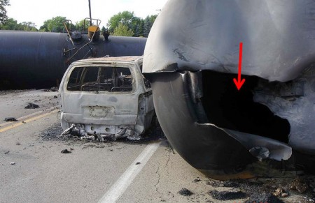 A photo from a National Transportation Safety Board powerpoint from 2012 shows how DOT-111 tankers can puncture. Photo: NTSB.
