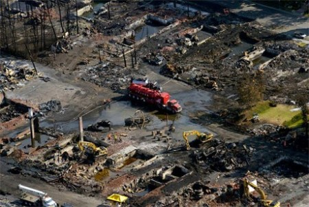 Emergency service crews at work in the blast and fire zone of Lac-Mégantic in July, 2013. Photo: Sureté du Québec