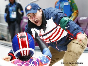 Coach Mark Grimmette greets Erin Hamlin after her bronze-winning luge run.  Photo:  Nancie Battaglia