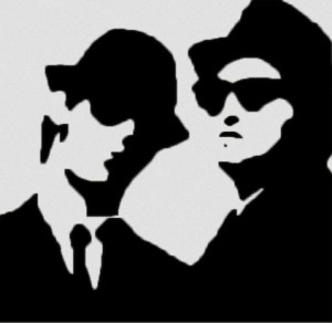 Blues musicians on a mission. Blues Brothers stencil graphic: Neeters, Creative Commons, some rights reserved