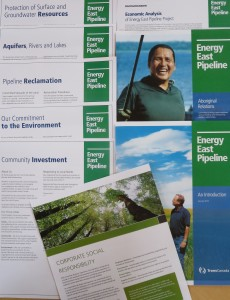 Sample of background handouts at the TransCanada Energy East informational presentation. Photo: Lucy Martin
