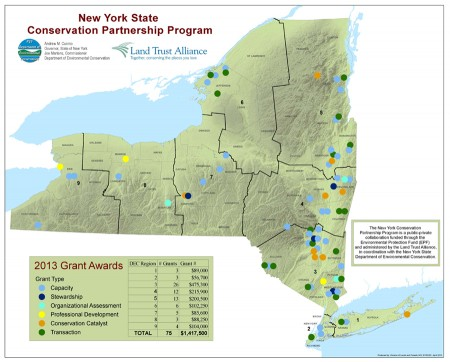 Geographic distribution of New York State Conservation Partnership Program Grants. Image: New York Department of Environmental Conservation