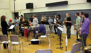 The Crane Latin Ensemble in a smaller rehearsal room at SUNY Potsdam. Photo: Todd Moe
