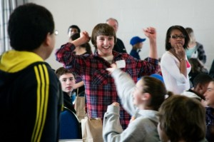 Students cheering at MoMath's Second Annual Suffolk County Middle School Math Tournament  (Image MoMath)
