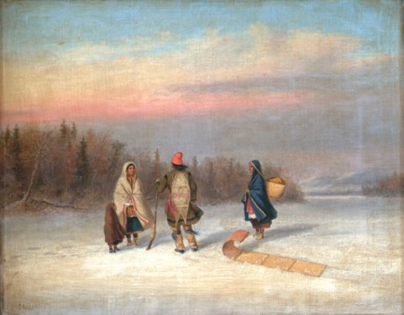 Caughnawaga Indians in Snowy Landscape, oil painting by Cornelius Krieghoff (1815-1872).
