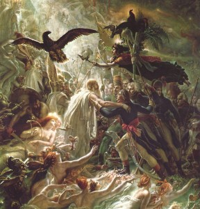"""Ossian Receiving the Ghosts of Fallen French Heroes,"" Anne-Louis Girodet, 1805, public domain"