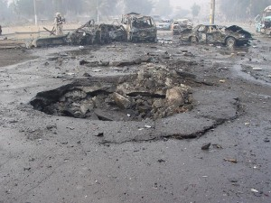 """A car bombing in Baghdad, part of the violence that prompted the """"Surge"""" in 2007.  Photo:  Jim Gordon via Wikipedia"""