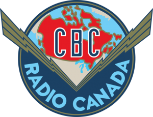 The Canadian Broadcasting Corporation logo from 1940 to 1958. It features a red map of Canada set above elongated lightning bolts spanning across the country, the design was intended to represent the unifying role the public broadcaster would play.