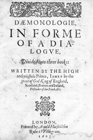 Title page of the 1602 edition of Daemonologie by King James VI. Photo: Wellcome Images