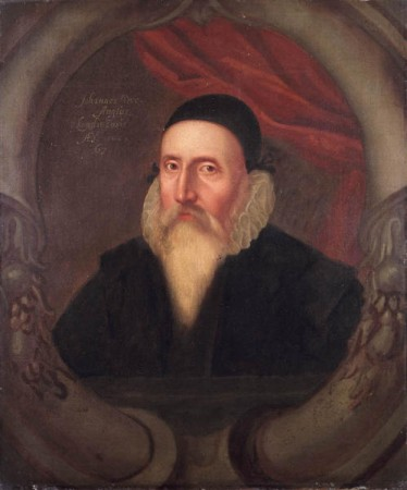 Portrait of John Dee, court sorcerer of Queen Elizabeth !, who retired in homor to a clergymen's post. Artist unknown, Ashmolean  Library collection