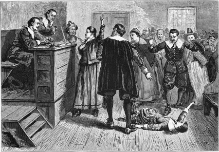 "Witchcraft at Salem Village. Engraving from ""Pioneers in the settlement of America: from Florida in 1510 to California in 1849,"" author William Crafts, 1876. Artist: unknown, public domain"
