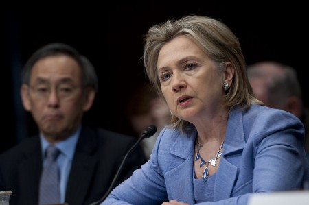Secretary of State Hillary Rodham Clinton at a Senate hearing in 2010. Clinton has been under scrutiny since 2014 for her use of a private email server while serving as Secretary of state. Nothing she has said to date about the matter has put the controversy to rest. Photo: Department of Defense