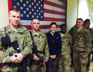 Rep. Elise Stefanik, shown here visiting US soldiers in Afghanistan, is a respected expert on foreign affairs and military policy.  She sits on the House Armed services committee and represents the Fort Drum Army base, which sits within her 21st NY district.  NCPR has urged her to answer more substantive questions about her support for Donald Trump to serve as America's next commander in chief.  Photo:  provided