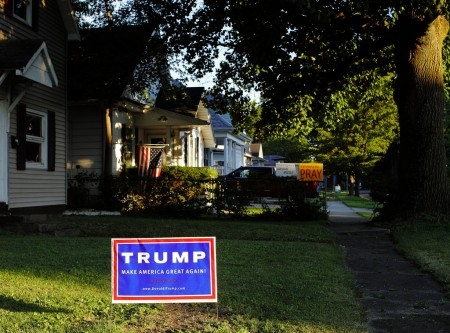 Trump yard sign in a small town, Taylorville, Illinois. Photo: Jason Matthews, Creative Commons, some rights reserved